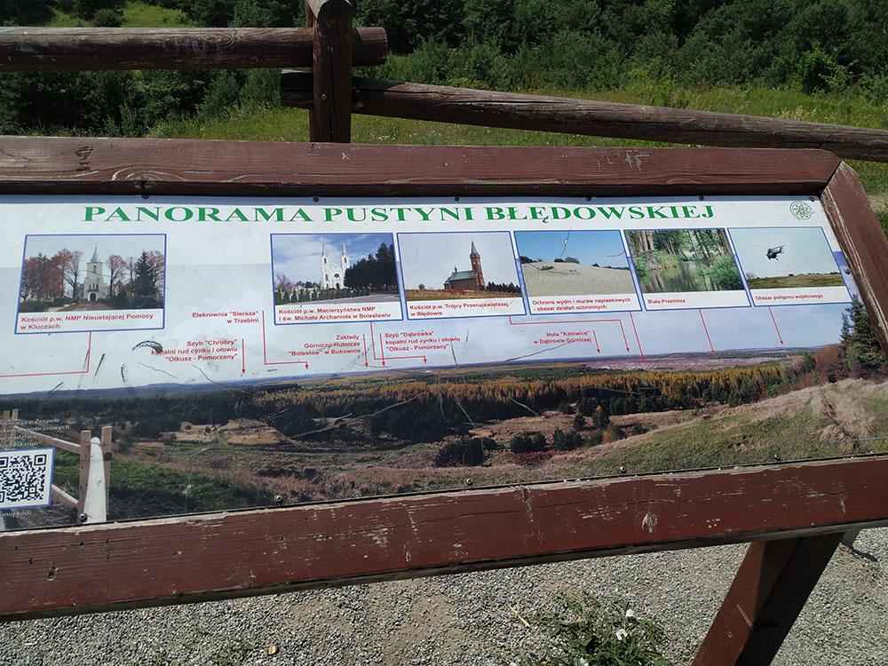 Cartel indicativo con los diferentes elementos de interés del Desierto de Bledow.